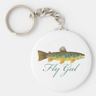 Fly Fishing Woman Keychain