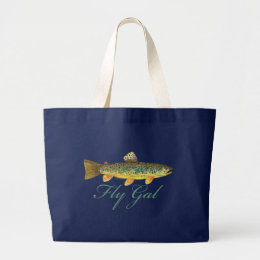Fly Fishing Woman Large Tote Bag