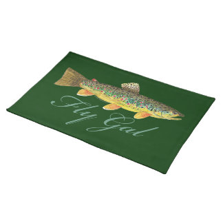 Fly Fishing Woman Cloth Placemat