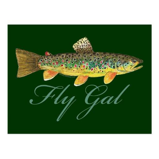 Fly Fishing Woman Postcard
