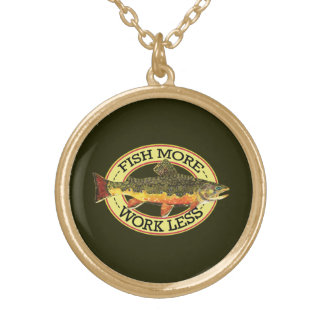 Fly Fishing Woman's Gold Plated Necklace