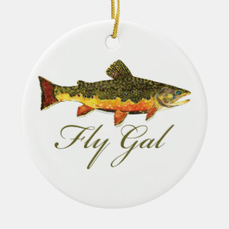 Fly Fishing Women Ceramic Ornament