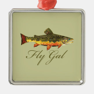 Fly Fishing Women Metal Ornament