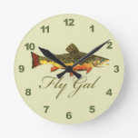 Fly Fishing Women Round Clock