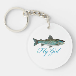 Fly Fishing Women Single-Sided Round Acrylic Keychain