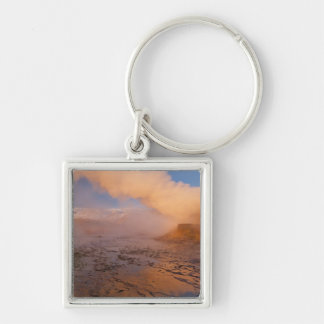 Fly Geyser in the Black Rock Desert Silver-Colored Square Keychain