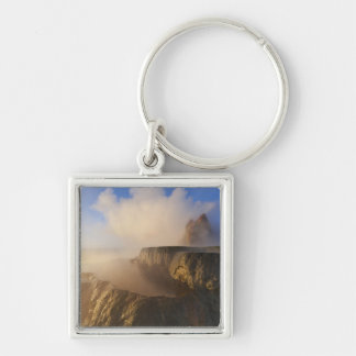 Fly Geyser with snow capped Granite Range 2 Silver-Colored Square Keychain