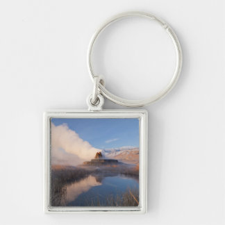 Fly Geyser with snow capped Granite Range 4 Silver-Colored Square Keychain