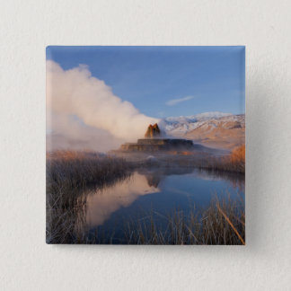 Fly Geyser with snow capped Granite Range 4 Pinback Button