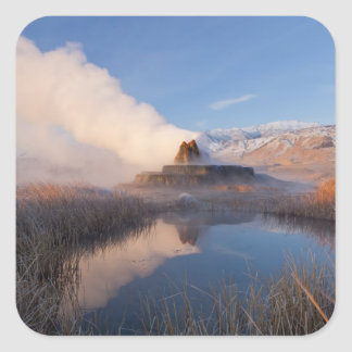 Fly Geyser with snow capped Granite Range 4 Square Stickers