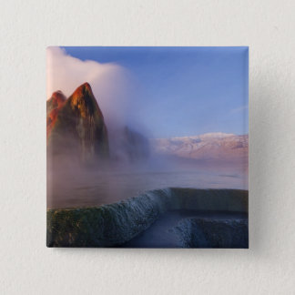 Fly Geyser with snow capped Granite Range Button
