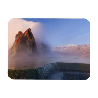 Fly Geyser with snow capped Granite Range Rectangular Magnets