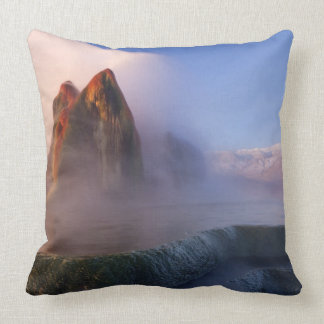 Fly Geyser with snow capped Granite Range Throw Pillow