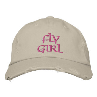 FLY GIRL FLY FISHING EMBROIDERED BASEBALL CAP