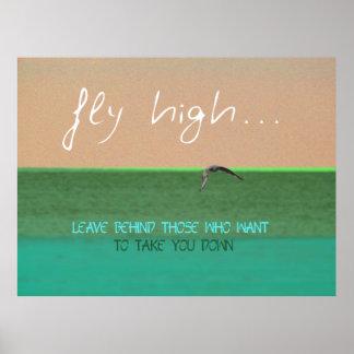 Fly High Digital Art Motivational Poster