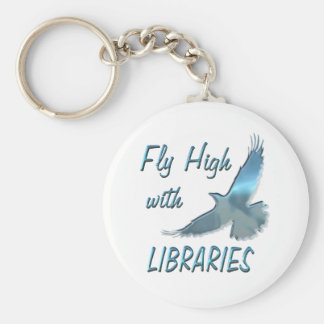 Fly High with Libraries Basic Round Button Keychain
