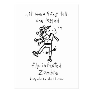 Fly-Infested Zombie Postcard