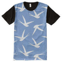 Fly Like a Bird Blue and White Swallow Pattern All-Over-Print Shirt
