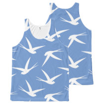 Fly Like a Bird Blue and White Swallow Pattern All-Over-Print Tank Top