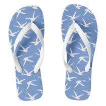 Fly Like a Bird Blue and White Swallow Pattern Flip Flops