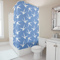 Fly Like a Bird Blue and White Swallow Pattern Shower Curtain