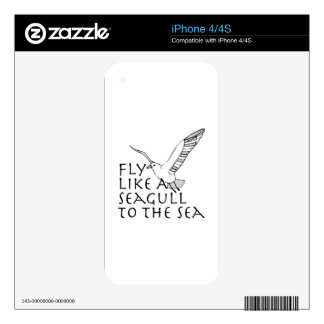 Fly Like A Seagull To The Sea iPhone 4 Skins