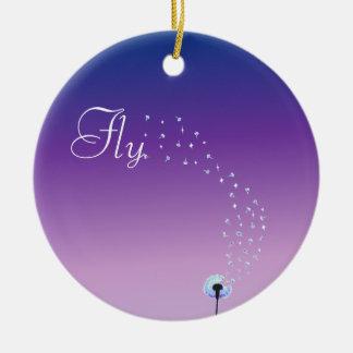 Fly little dandelion seed - Purple Ceramic Ornament