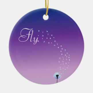 Fly little dandelion seed - Purple Double-Sided Ceramic Round Christmas Ornament