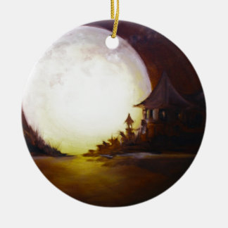 Fly me to the moon 3.jpg Double-Sided ceramic round christmas ornament