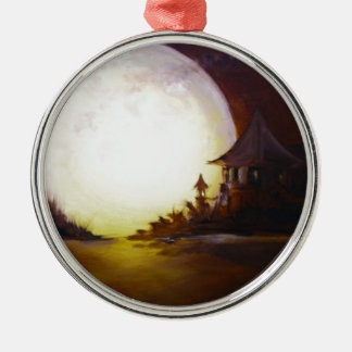 Fly me to the moon 3.jpg round metal christmas ornament