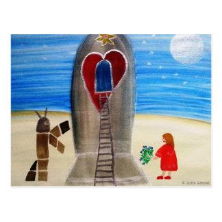...Fly Me to The Moon...art by Jutta Gabriel... Postcard
