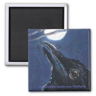 Fly Me To the Moon Baby Crow 2 Inch Square Magnet