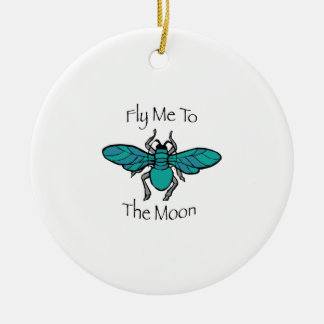 Fly Me To The Moon Double-Sided Ceramic Round Christmas Ornament