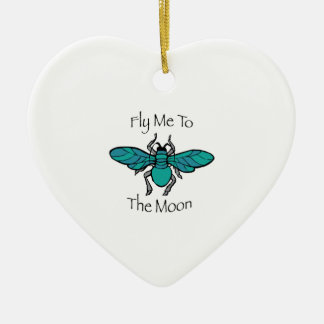 Fly Me To The Moon Double-Sided Heart Ceramic Christmas Ornament