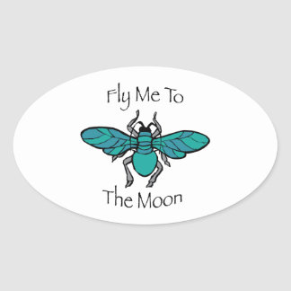 Fly Me To The Moon Oval Sticker