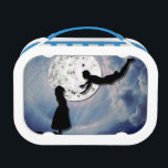 """fly me to the moon paper cut universe lunch box<br><div class=""""desc"""">Paper cut/shadow of a girl looking up to a flying boy (maybe peter pan? ;) ). He is supposed to take her away into the sky/the universe. Their gaze meets in front of a giant moon. Also a paper cut and painted with dots (to create the effect of the moon...</div>"""