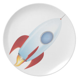 Fly me to the moon - Rocket Design Dinner Plate