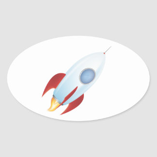 Fly me to the moon - Rocket Design Oval Sticker