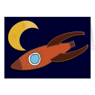 Fly Me To The Moon Rocket Ship Card