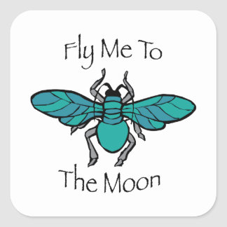 Fly Me To The Moon Square Sticker