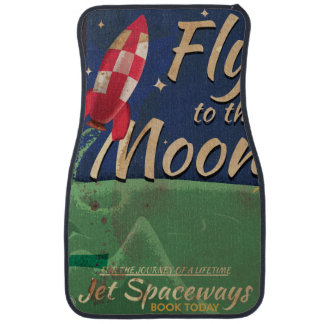 Fly me to the Moon Vintage Travel poster Car Floor Mat