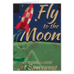 Fly me to the Moon Vintage Travel poster Card