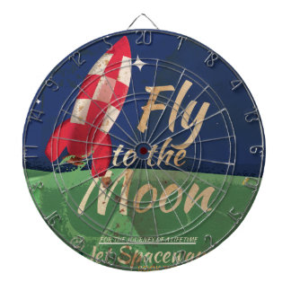 Fly me to the Moon Vintage Travel poster Dartboard With Darts