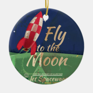 Fly me to the Moon Vintage Travel poster Double-Sided Ceramic Round Christmas Ornament