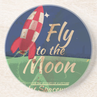 Fly me to the Moon Vintage Travel poster Drink Coaster