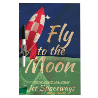 Fly me to the Moon Vintage Travel poster Dry-Erase Board