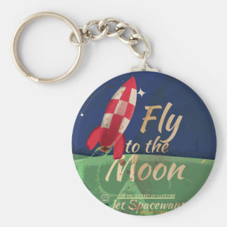 Fly me to the Moon Vintage Travel poster Keychain