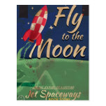 Fly me to the Moon Vintage Travel poster Postcards