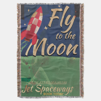 Fly me to the Moon Vintage Travel poster Throw Blanket