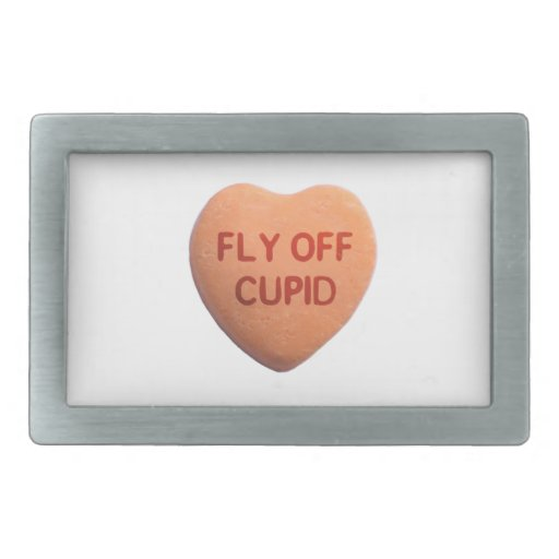 Fly Off Cupid Orange Candy Heart Rectangular Belt Buckle